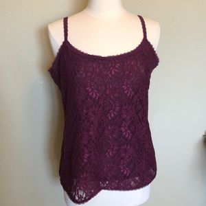 WHBM Cranberry Lace Camisole